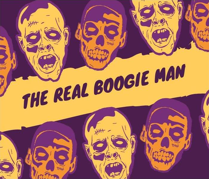 "Illustrations of Skulls & text ""the real boogie man"""